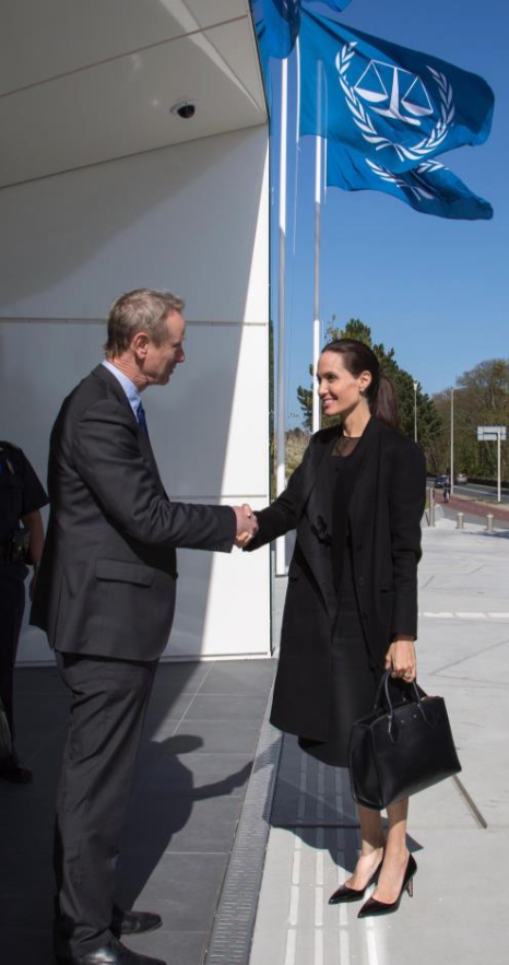 Mr. Pieter de Baan, TFV Executive Director received Ms. Jolie Pitt in front of the International Criminal Court building